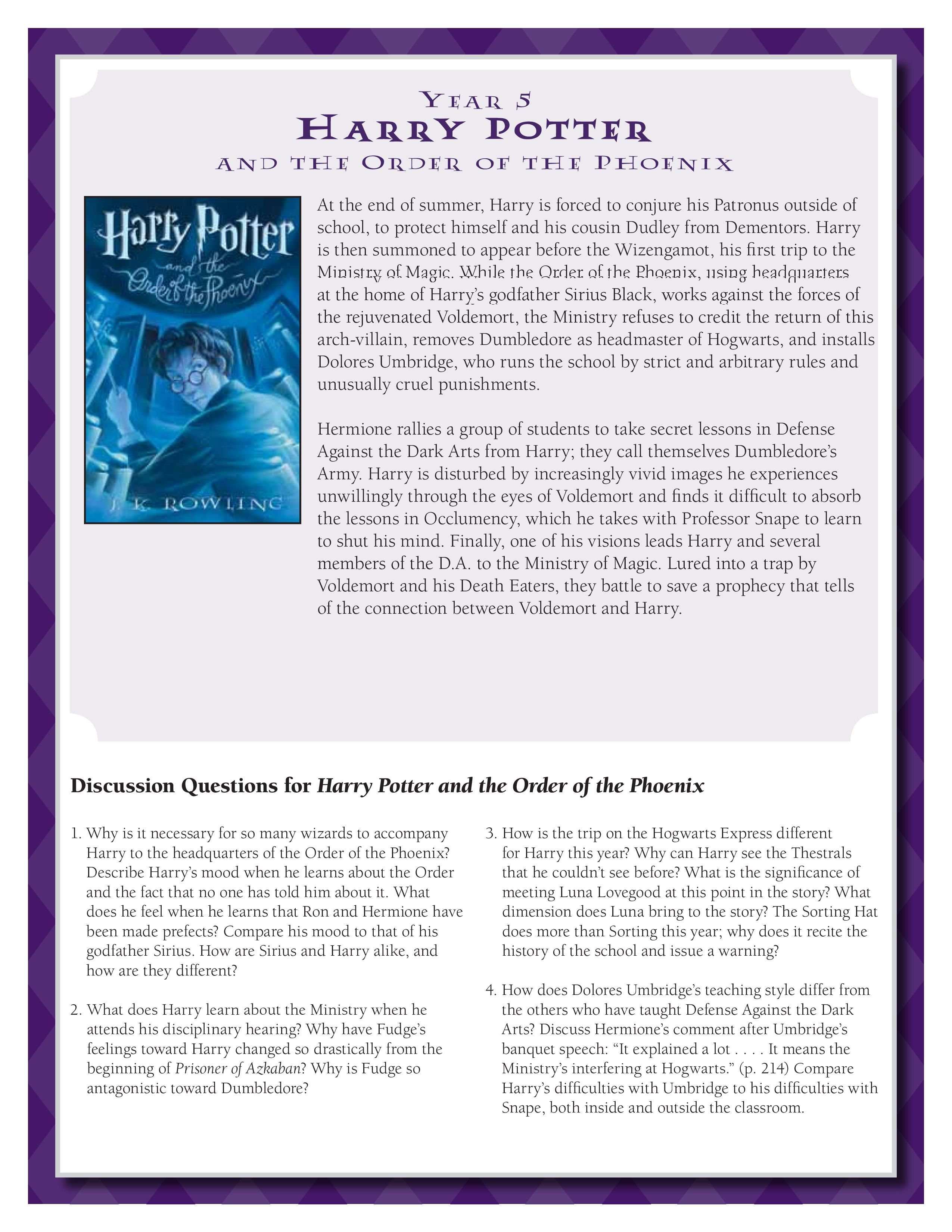Discussion Guide For Harry Potter And The Order Of The Phoenix By J K Rowling Download Harry Potter Lessons Harry Potter Classroom Harry Potter Unit Study
