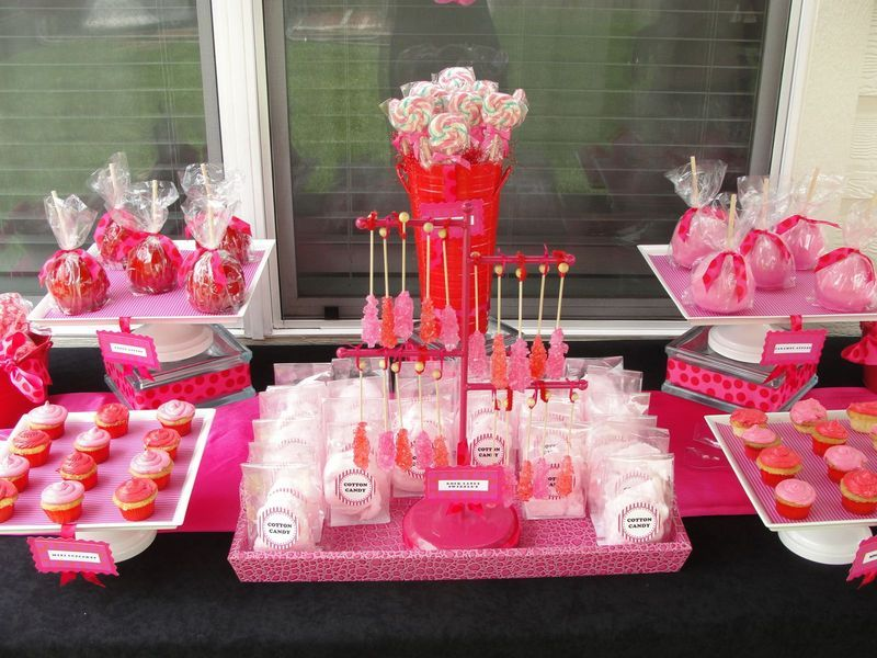 Hot PInk And Red Baby Shower Desser Buffet Cotton Candy, Rice Krispy Treats  Drizzled With Pink Choc!