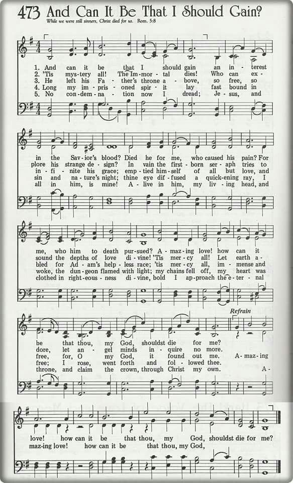 And Can It Be That I Should Gain Hymn Music Christian Lyrics