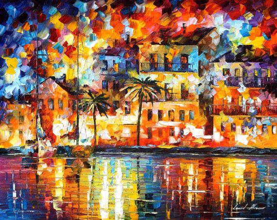 The Shores of Spain — ORIGINAL City Shore Oil Painting On Canvas by Leonid Afremov, $2000.00