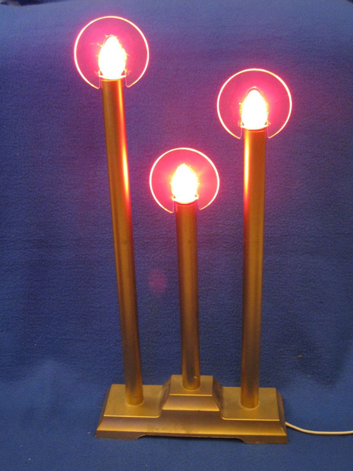 Vintage christmas 3 light haloed candolier candelabra electric gold