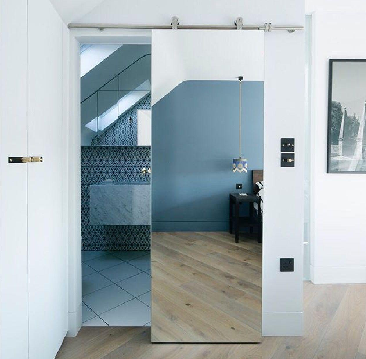 New Mirrored Barn Door Porta De Vidro Porta De Espelho Portas