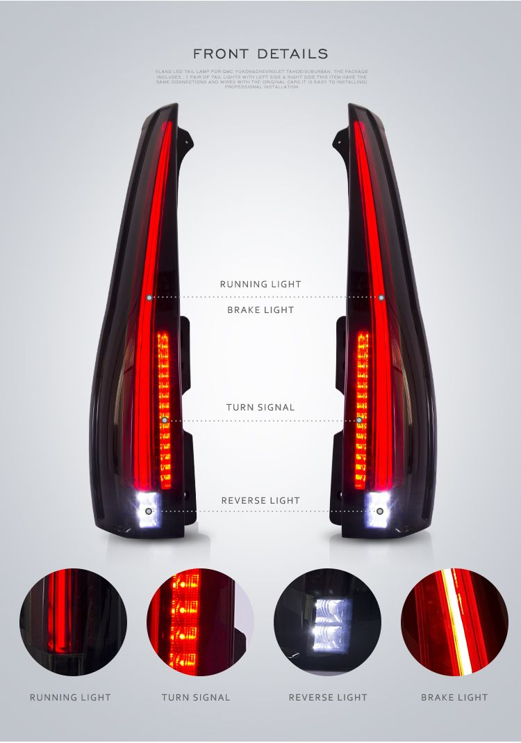 Led Taillights For 2007 2014 Chevy Tahoe Suburban Gmc Yukon Smoke Red Vland Gmcyukontaillight Gmcyukontaillights Tah Chevy Tahoe Gmc Yukon 2014 Chevy Tahoe