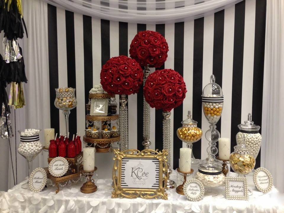 Red White And Black Inspired Candy Buffet By Kcee S Candy Buffets Http Kceescandybuffets Com Index Ht Red Birthday Party White Candy Buffet Red Candy Buffet