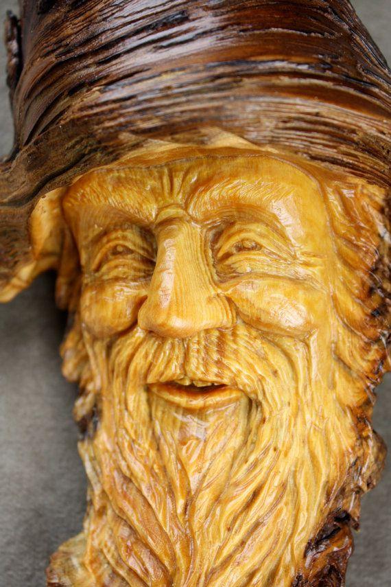 Wizard carving wood spirit elf gnome
