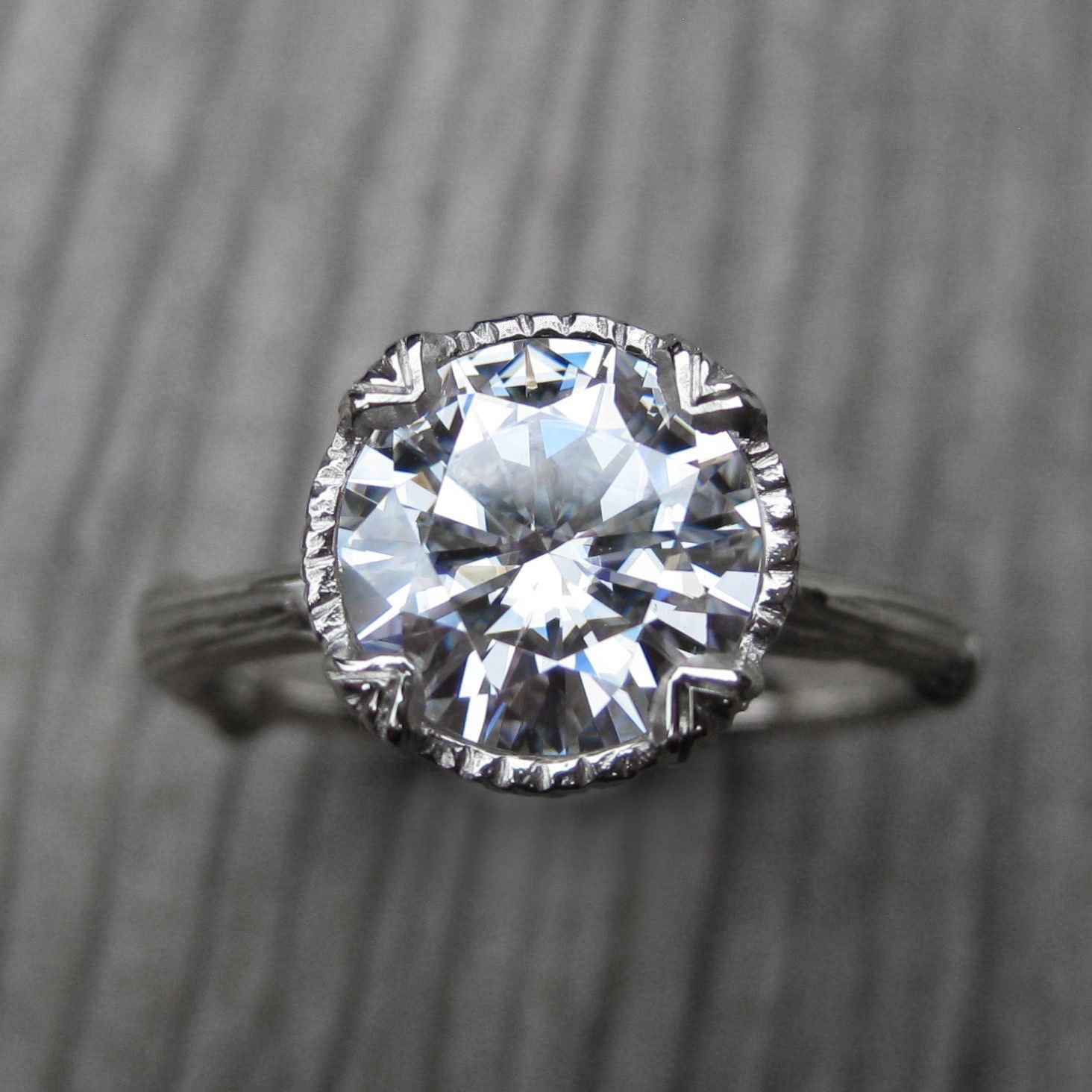 Forever Brilliant Moissanite Twig Engagement Ring Carved Floral