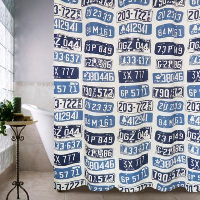 Park B Smith Metro Farmhouse License Plates Shower Curtain In Denim The
