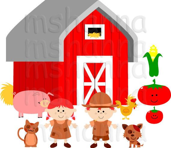 Farm Barn Yard Clip Art Perfect For Diy Projects Card Making Cupcake Toppers Birthday Banners Tags Invites Etc