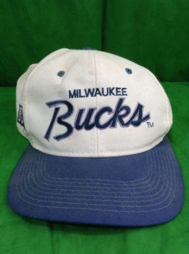 198b656f7 Vintage Sports Specialties Milwaukee Bucks Snapback Hat Side Logo ...