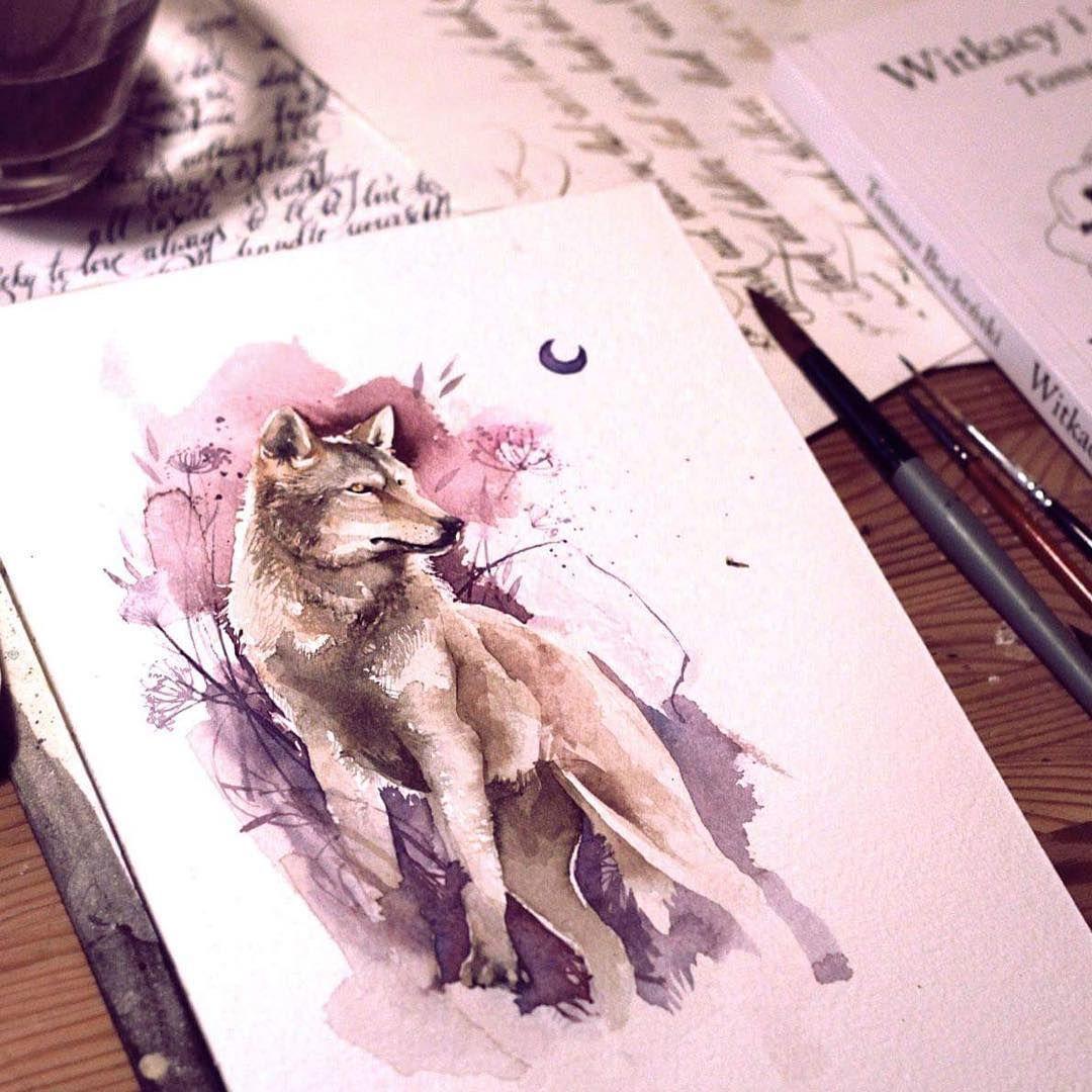 Wolf Watercolor Loup Aquarelle Tatouages Polynesiens Dessin