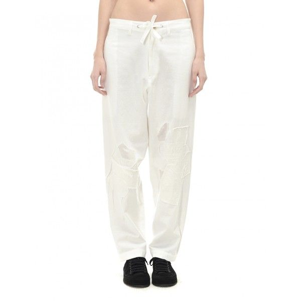 Y's Cotton and Linen Trousers (850 BAM) ❤ liked on Polyvore featuring pants, white trousers, white pants and cotton linen pants