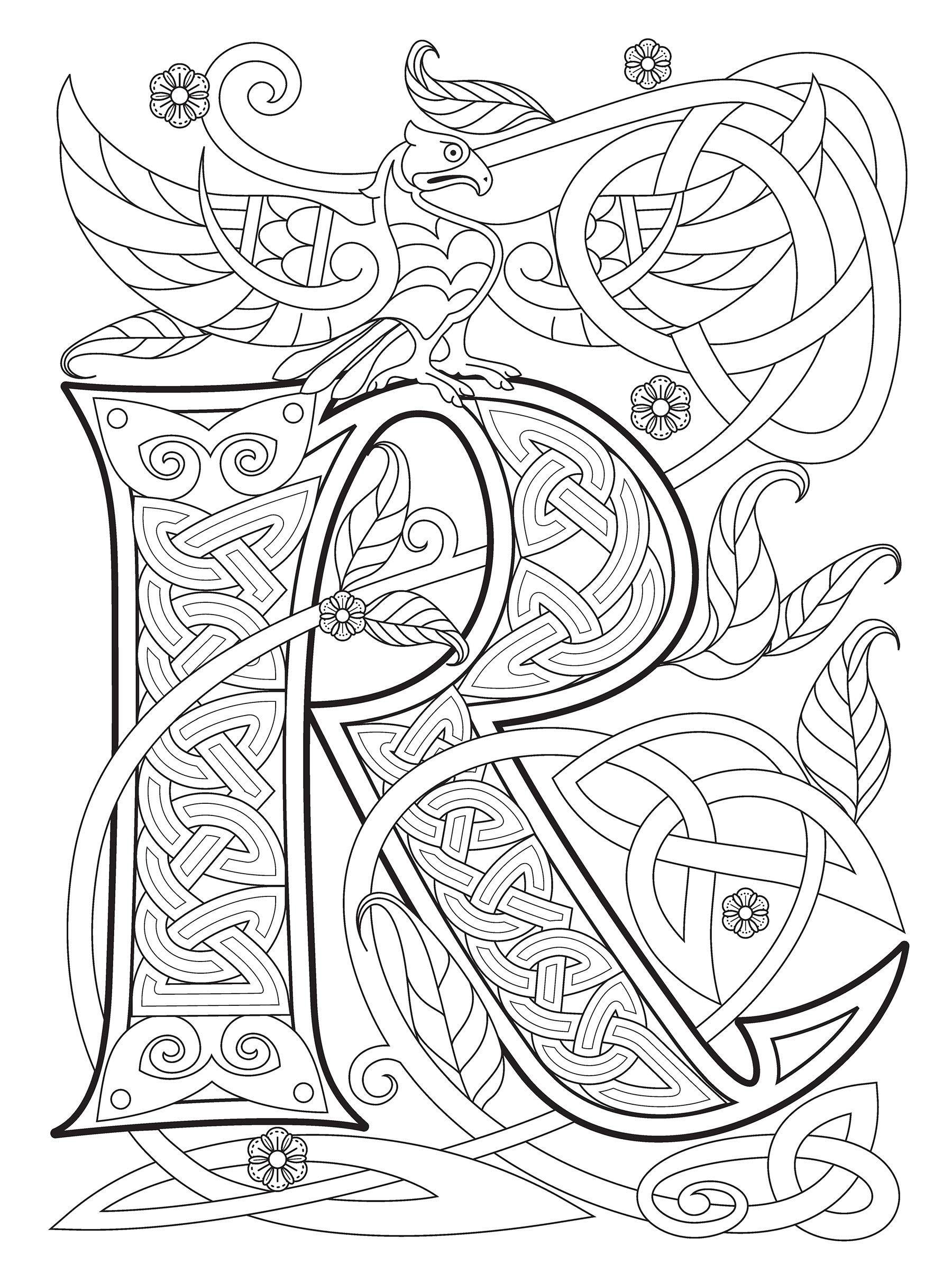 Dover Celtic Alphabet Letter R Celtic Alphabet Celtic Fonts Alphabet Coloring Pages