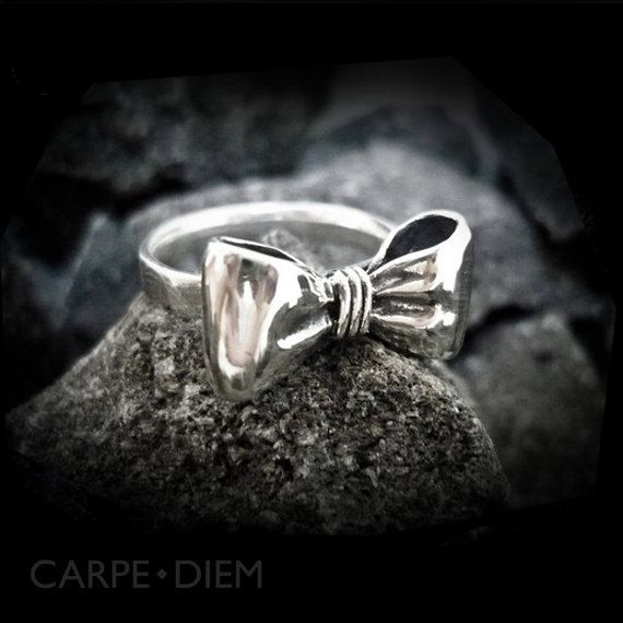 Carpe Diem 925 Sterling Silver Bow Ring Rings Wedding Engagement Band Jewelry Jewellery CDR-099. $65.00, via Etsy.