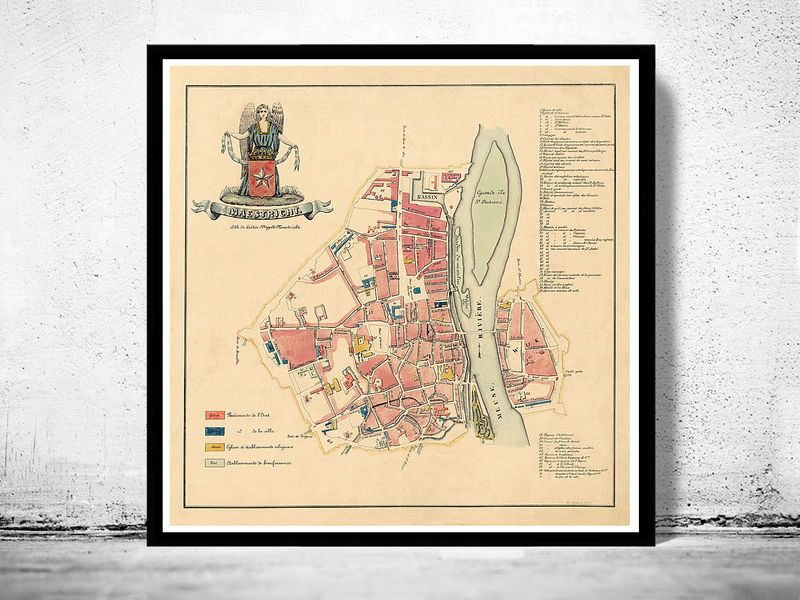 Old Map of Maastricht Netherlands 1860