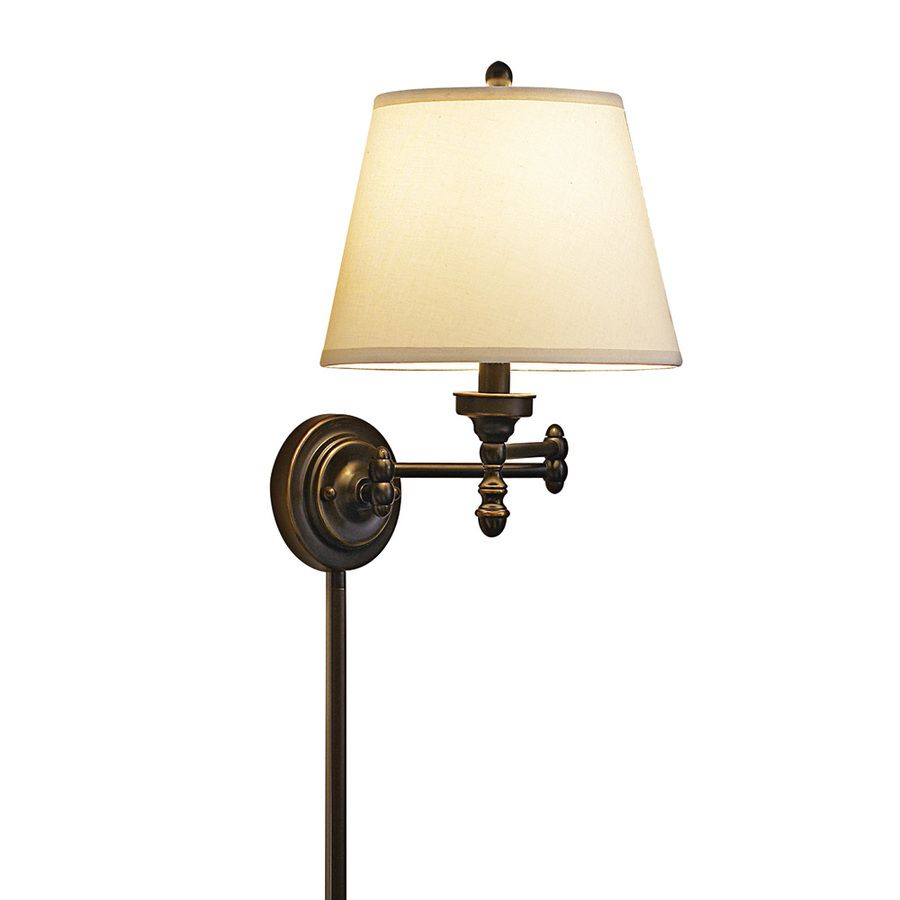 Shop Portfolio 15 5 8 In Oil Rubbed Bronze Swing Arm Wall Mounted Lamp With White Shade At Lowes