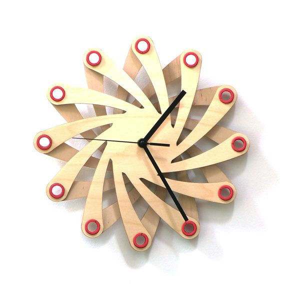 Galaxy - contemporary stylish wall clock made of bent plywood ...