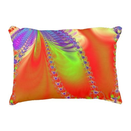 Orange Delight Fractal Accent Pillow