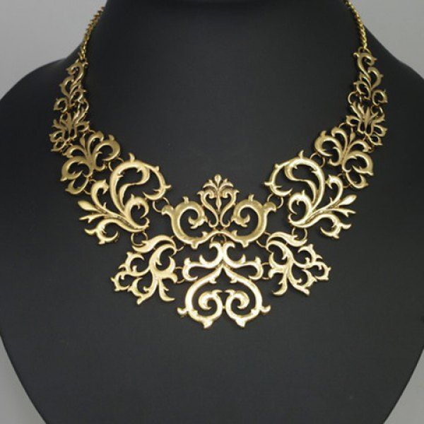Retro Gothic Hollowed Carve Patterns Fake Collar Golden Necklace For Women