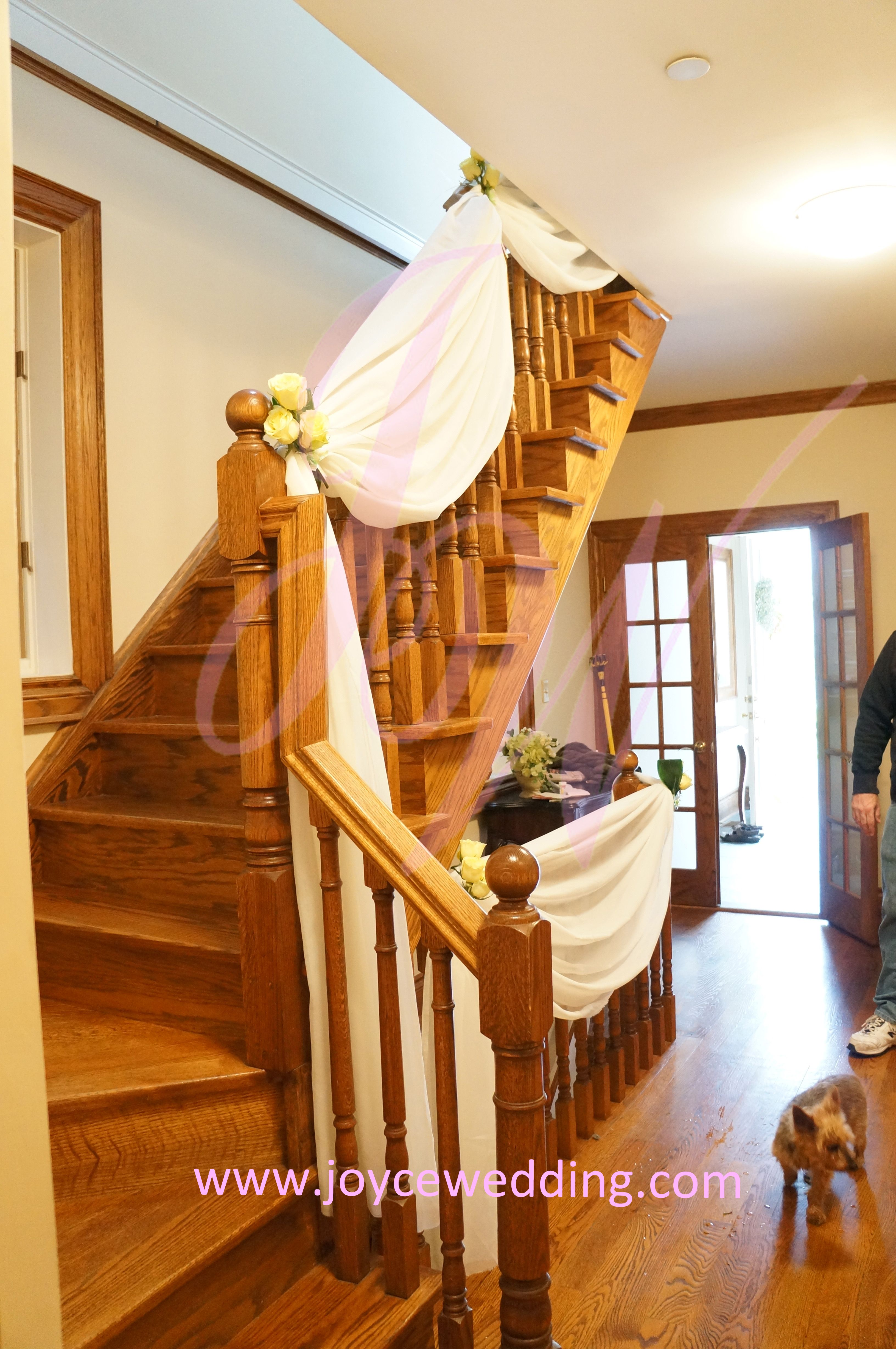 Wedding decorations home  Stair Drapery for at Home Wedding Decoration  Wedding
