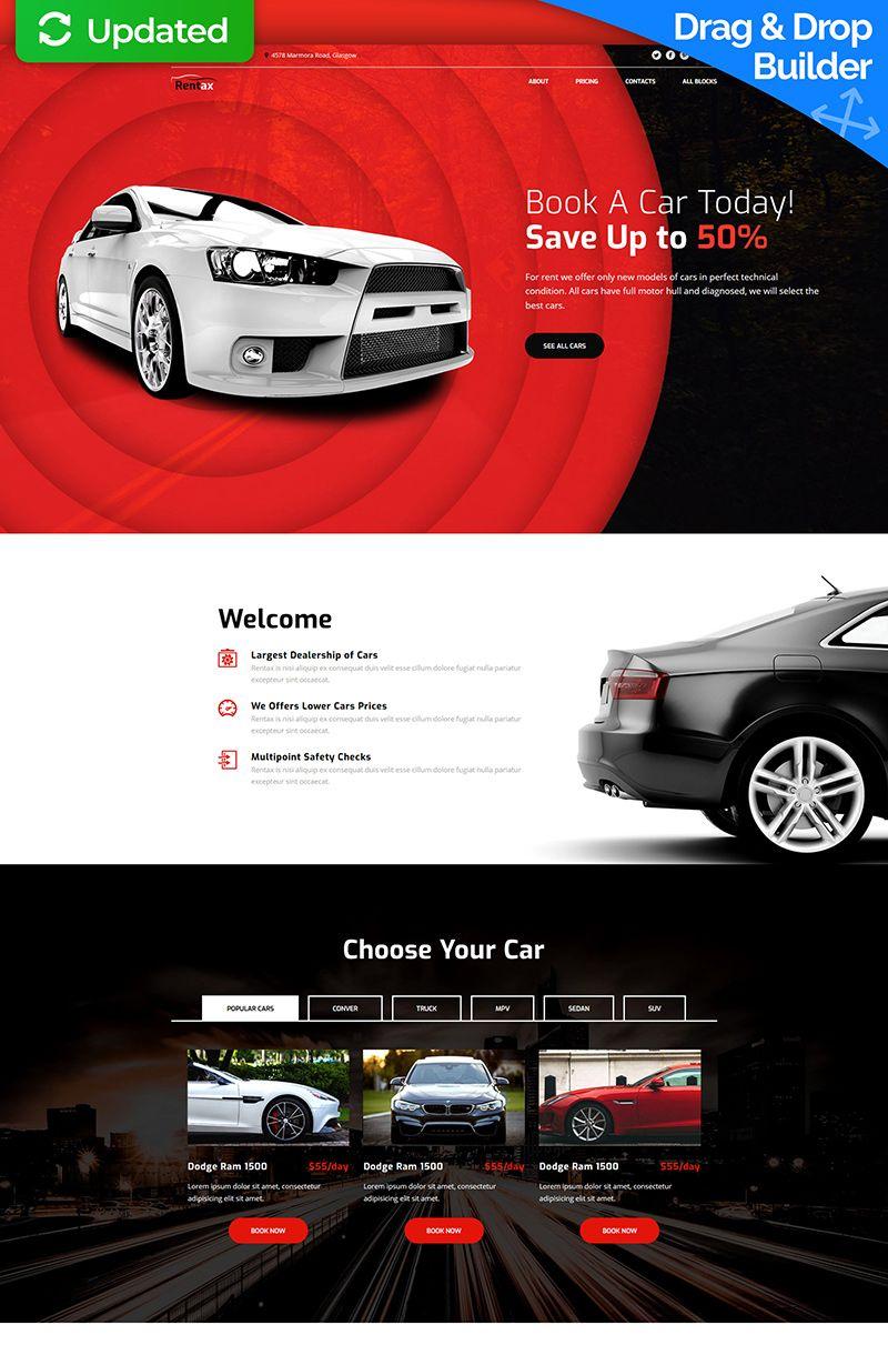 Car Rental MotoCMS 3 Landing Page Template 67960