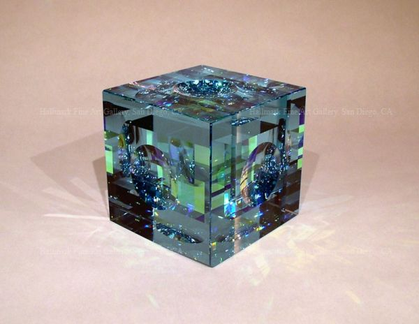 "Jack Storms 4"" cube glass sculpture"