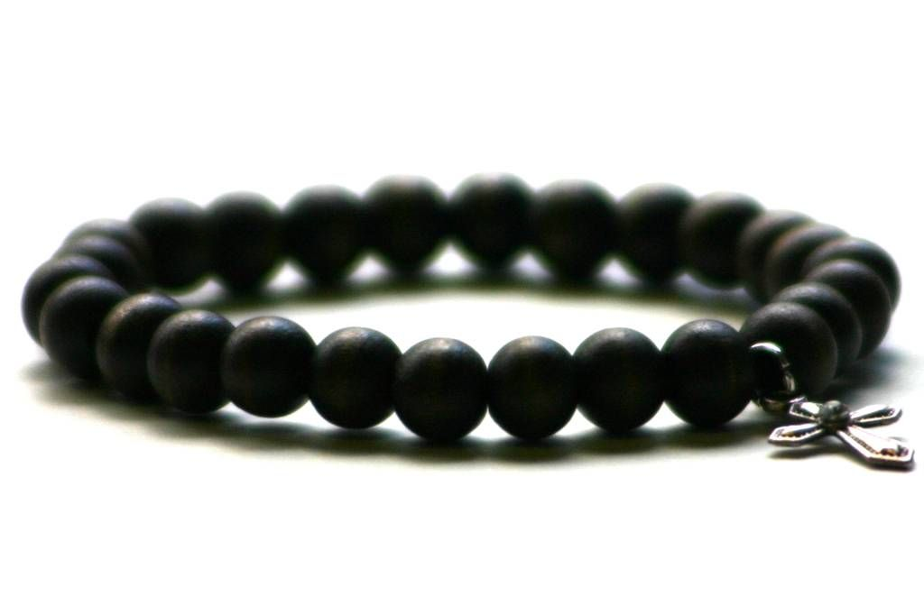 Wood Junkie Pearl Bracelet 8mm Cross - Black - Urban Classics-Shop.nl