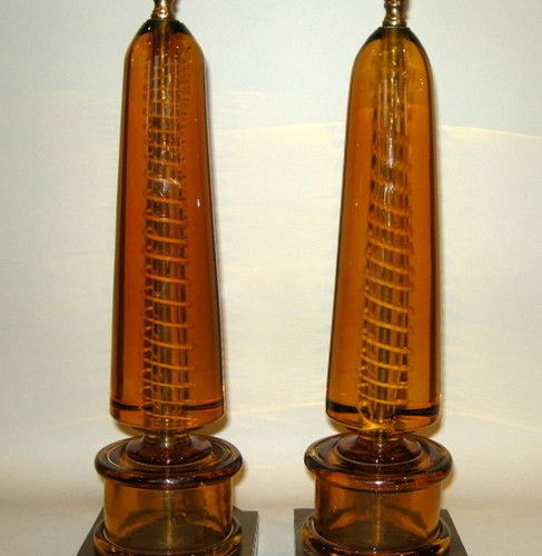 Vintage Pair Fratelli Toso Murano Italian Amber Glass Internal Decoration Lamps | eBay