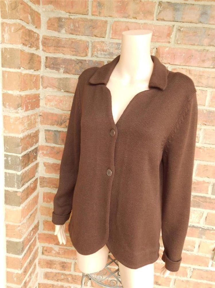 NEIMAN MARCUS Women Cardigan Size XL 100% Pima Cotton Sweater Top ...
