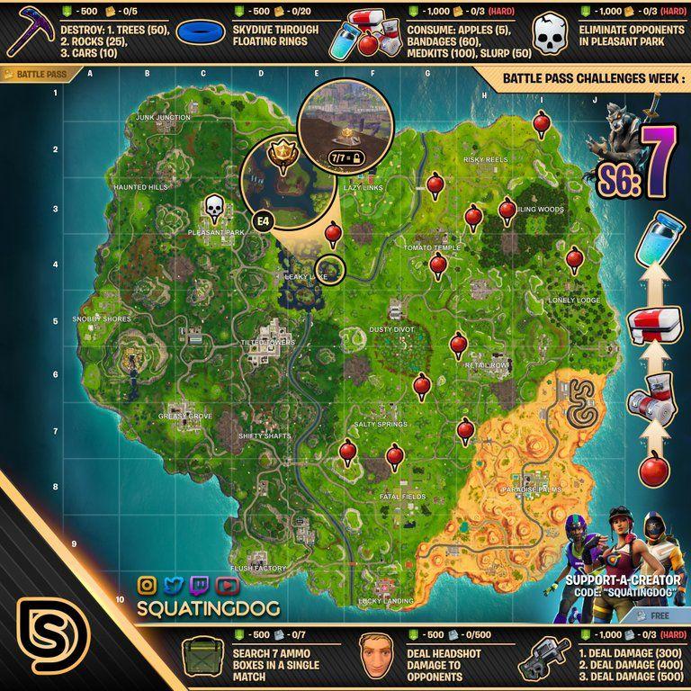 Cheat Sheet Map For Fortnite Battleroyale Season 6 Week 7 Battle Star Fortnite Epic Games Fortnite