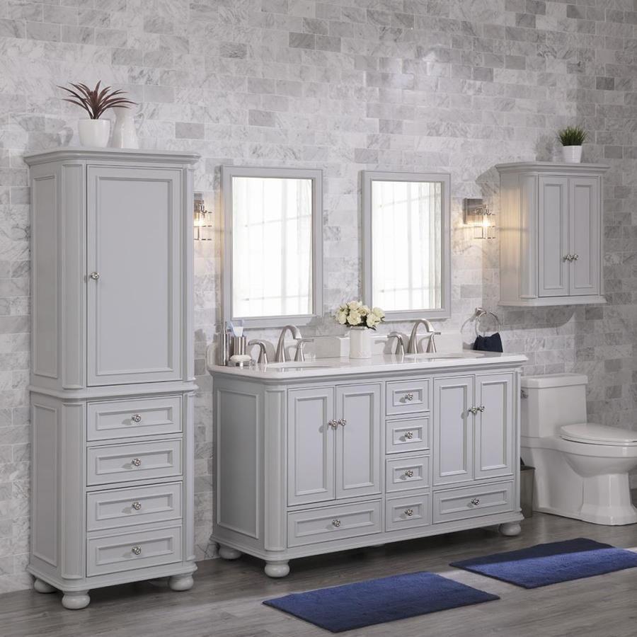 Scott Living Wrightsville 60 In Light Gray Double Sink Bathroom Vanity With Terrazzo Engineered Stone Top Lowes Com Bathroom Vanity Designs Bathroom Sink Vanity Bathroom Vanity