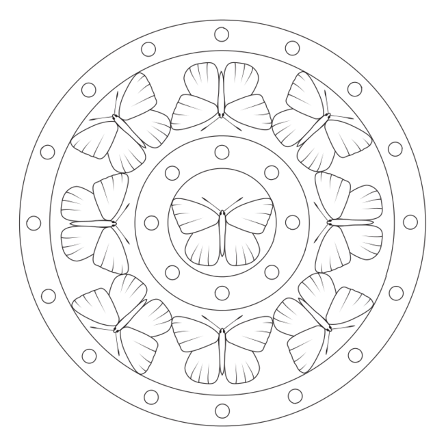 schmetterlingmandala 4  tiere  geometrisches mandala