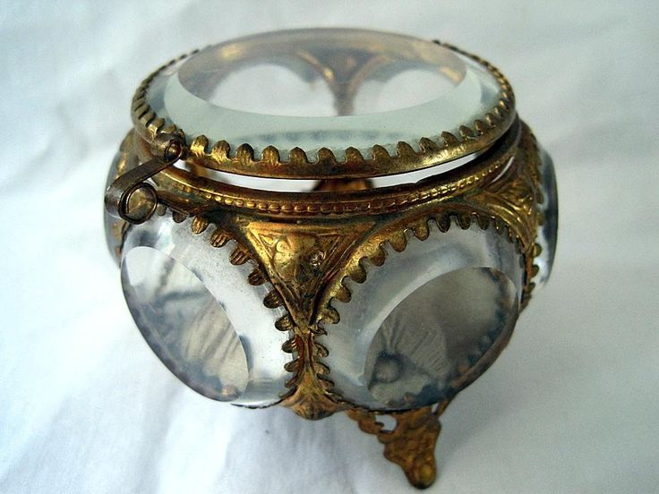 Antique Glass Casket Beveled Jewelry Box Treasure Boxes Ring