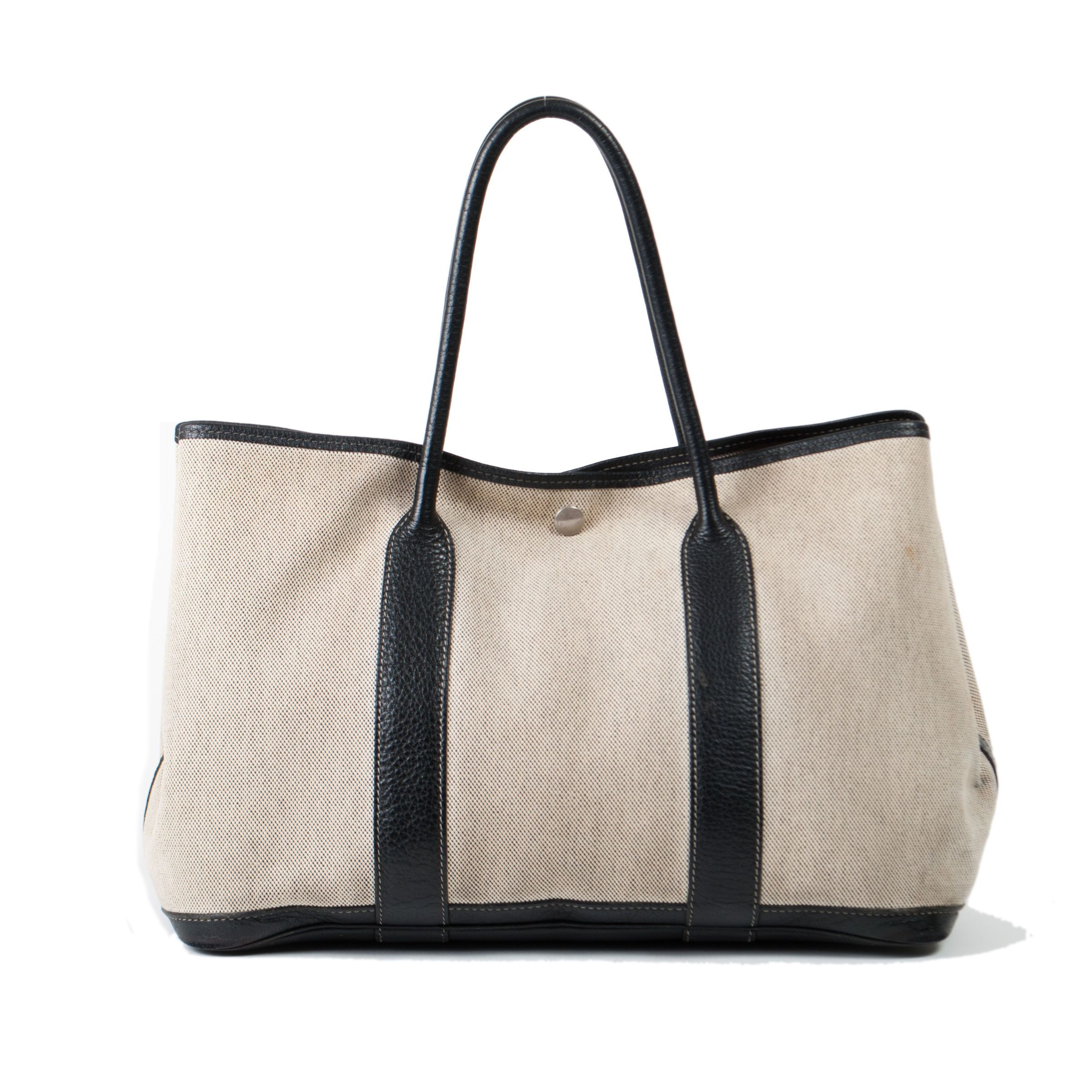 #Hermès two tone cotton #Garden #Party #PM handbag with leather trim. Available at lxrco.com for $499