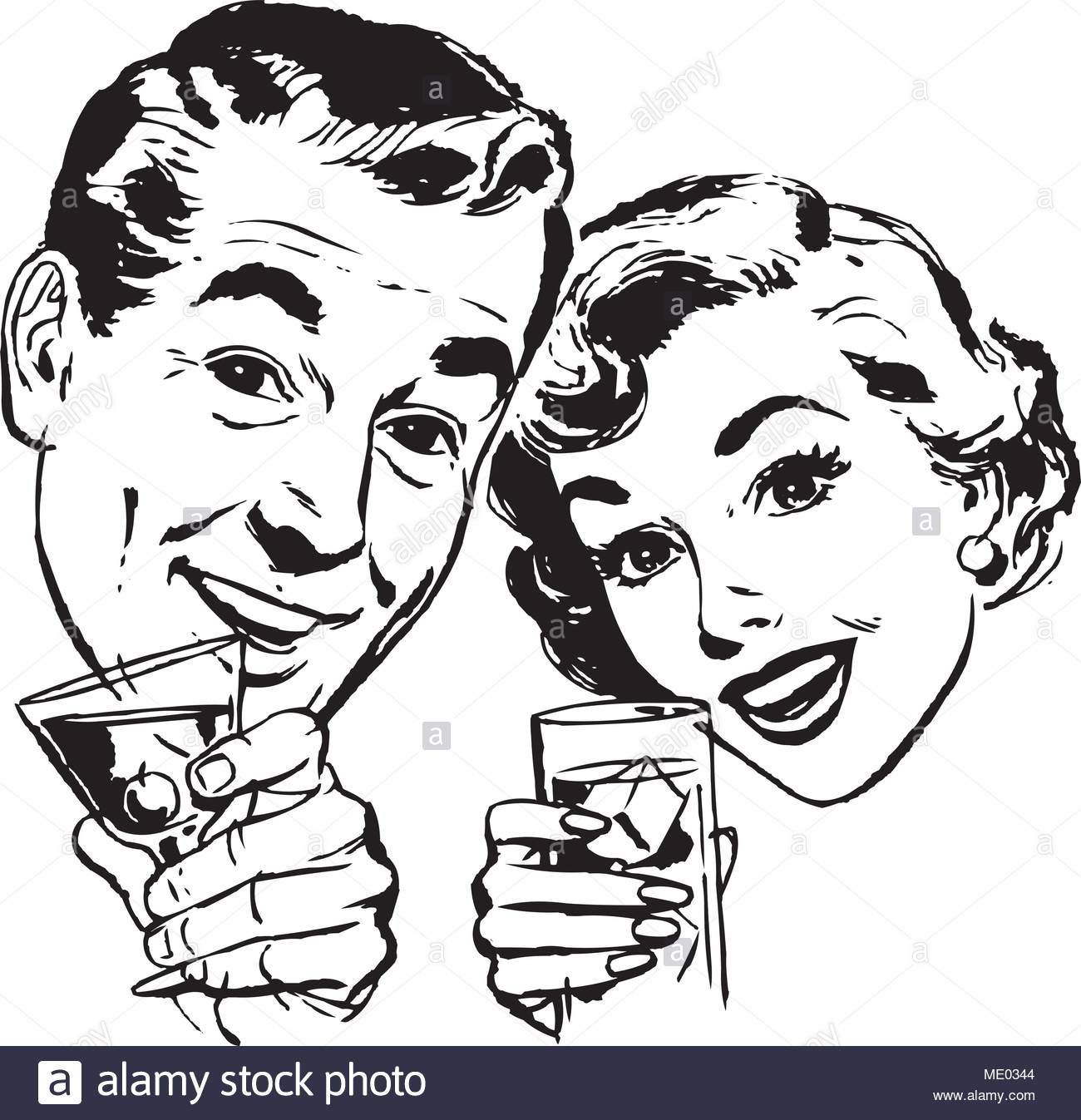 Download This Stock Vector Couple With Cocktails Retro Clipart Illustration Me0344 From Alamy S Library Of Millions Of Retro Vector Clip Art Illustration