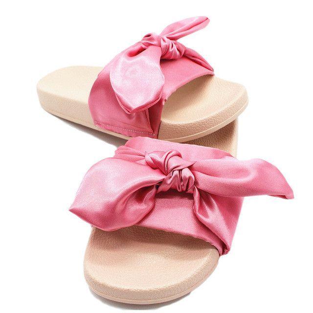4dc3fd02c Silk Bow Slides Women Summer Beach Shoes Woman No Fur Slippers Flat Heels  Flip Flops Ladies Bohemia Sandals RD912569