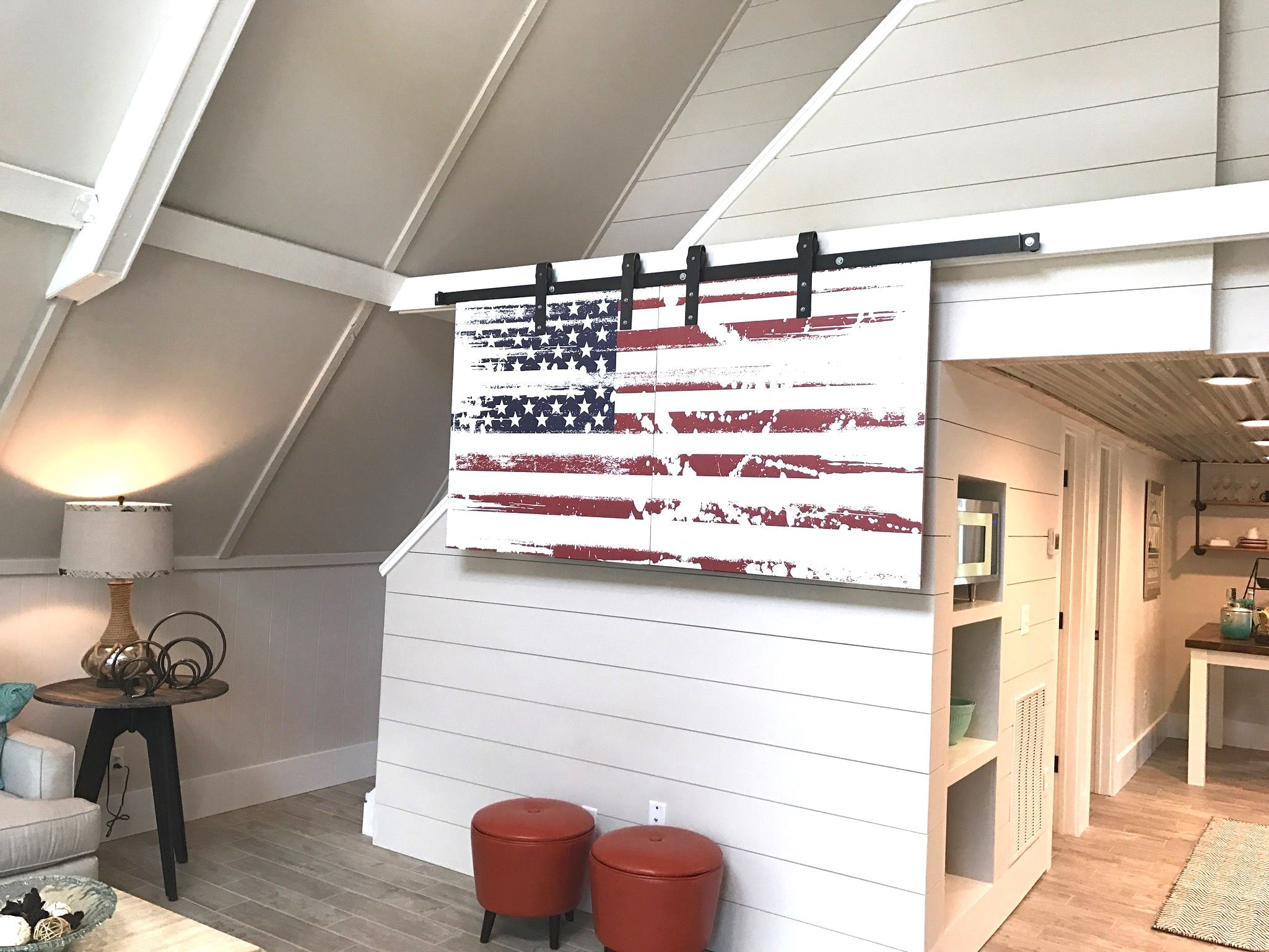 A Wood American Flag On Barn Door Hardware Hides The Tv When Not In Use Interior Barn Doors Wood Barn Door Barn Door