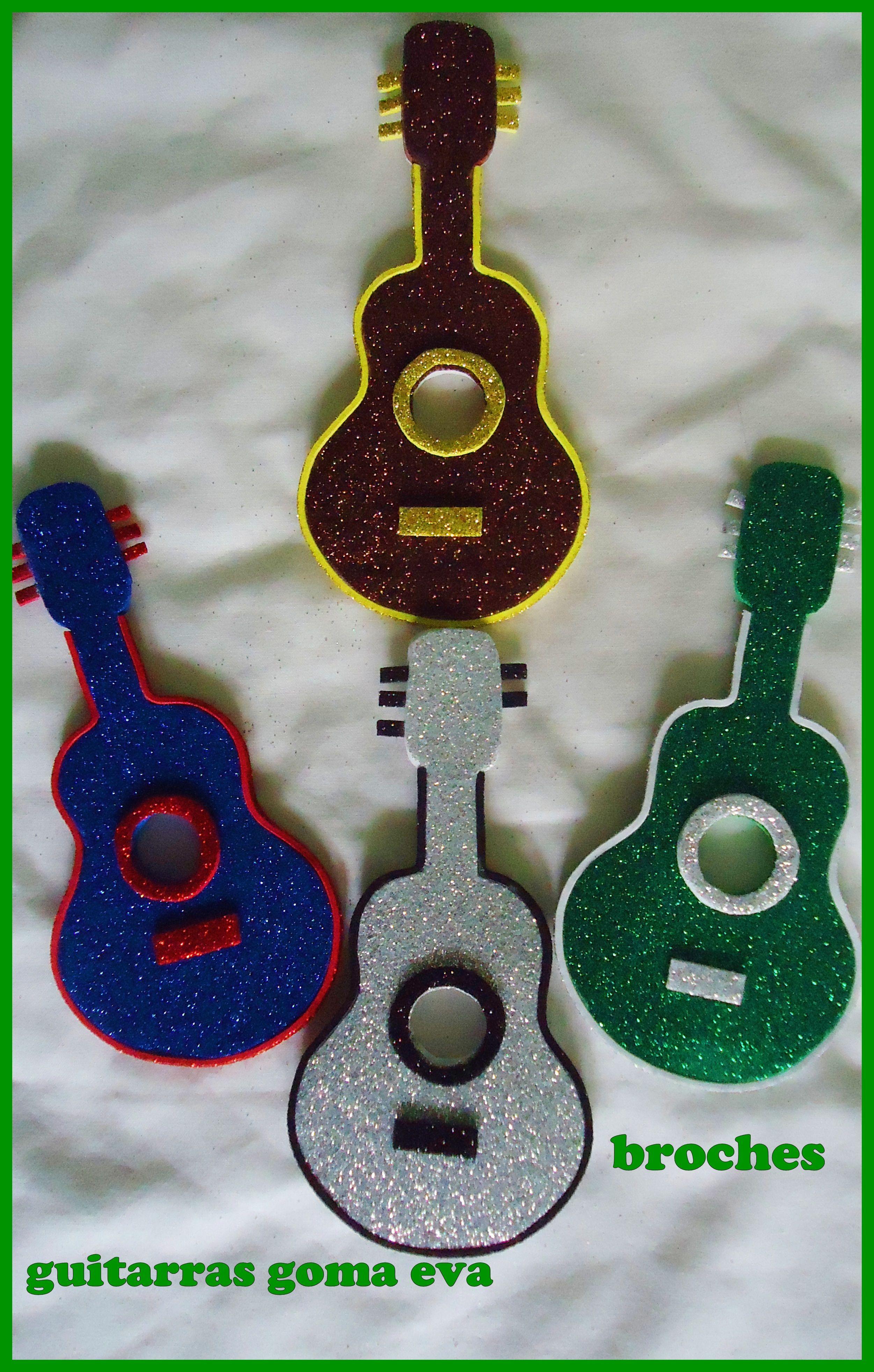 broches de guitarras en goma eva Detalles en goma eva Pinterest