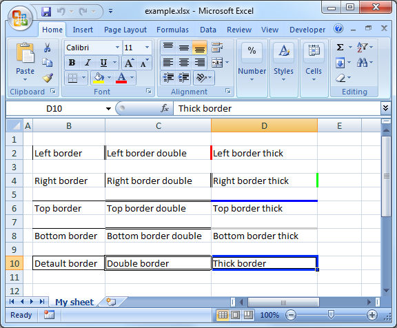 PL/SQL Excel - Borders with styles and colors | ORA_EXCEL examples