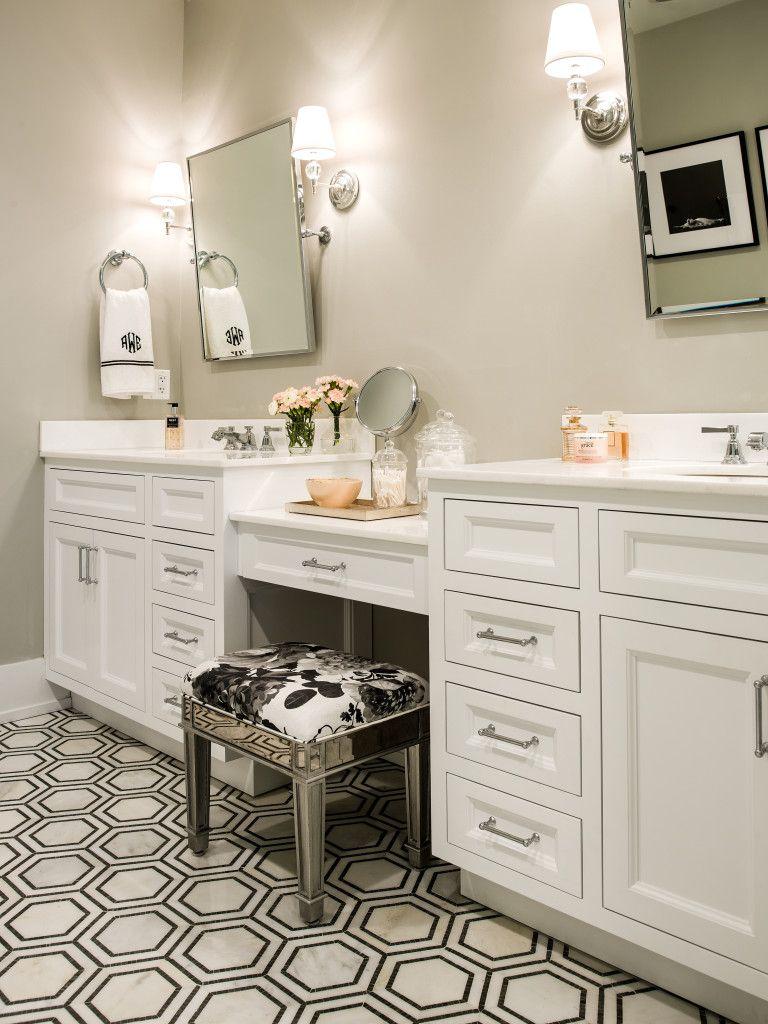 Alexandra Kaehler Design Master Bath With Marble Hexagon Mosaic