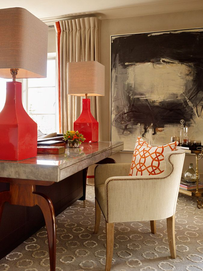 Pin By Houseblended On Trend Color Coquettish Interior Chic Living Room Design Contemporary Living Room #red #lamps #for #living #room