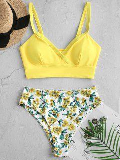Floral Surplice High Cut Tankini Swimsuit