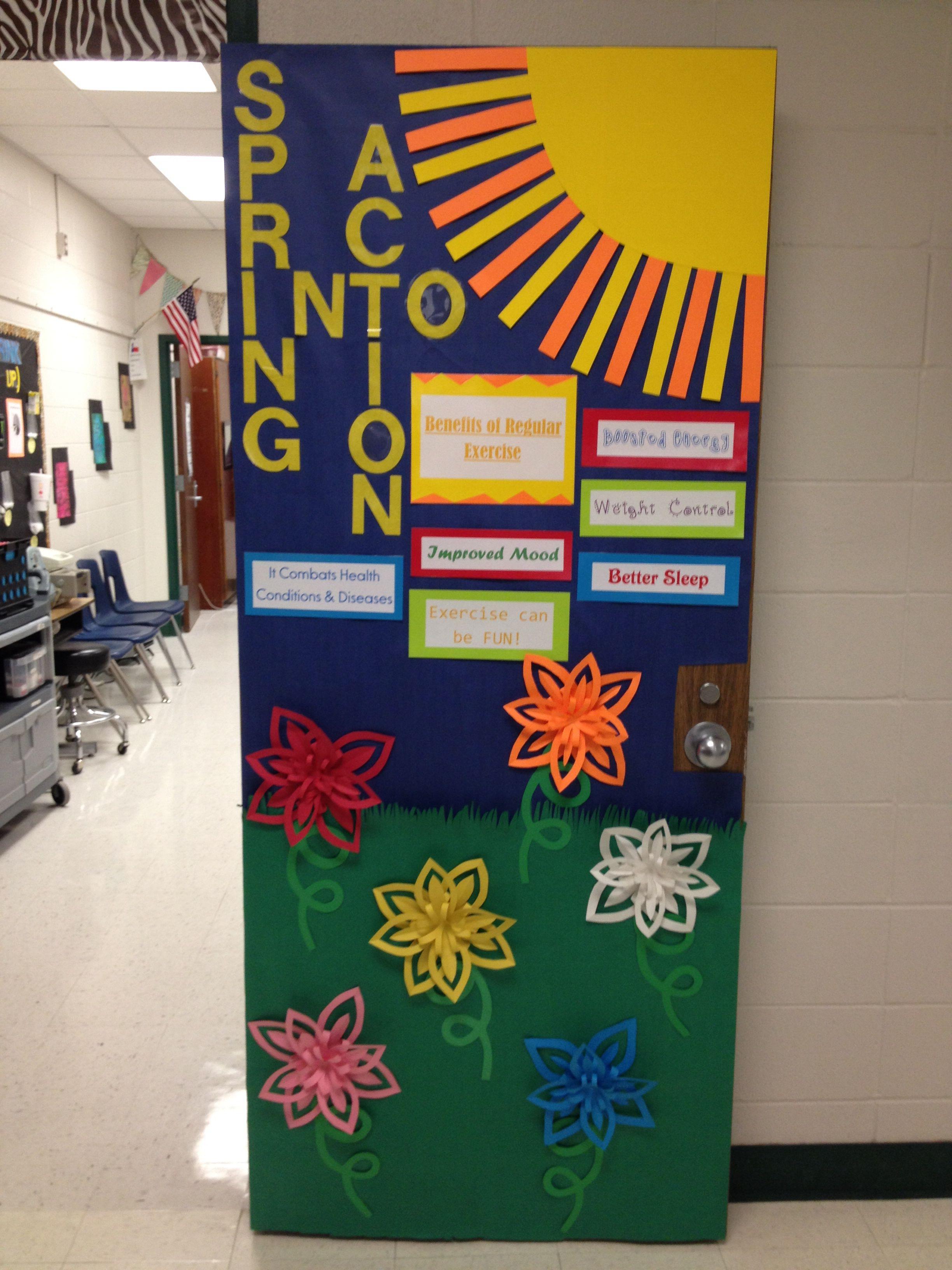 School Clinic Decorations Spring Into Action Bulletin Door Decoration Nurses Office