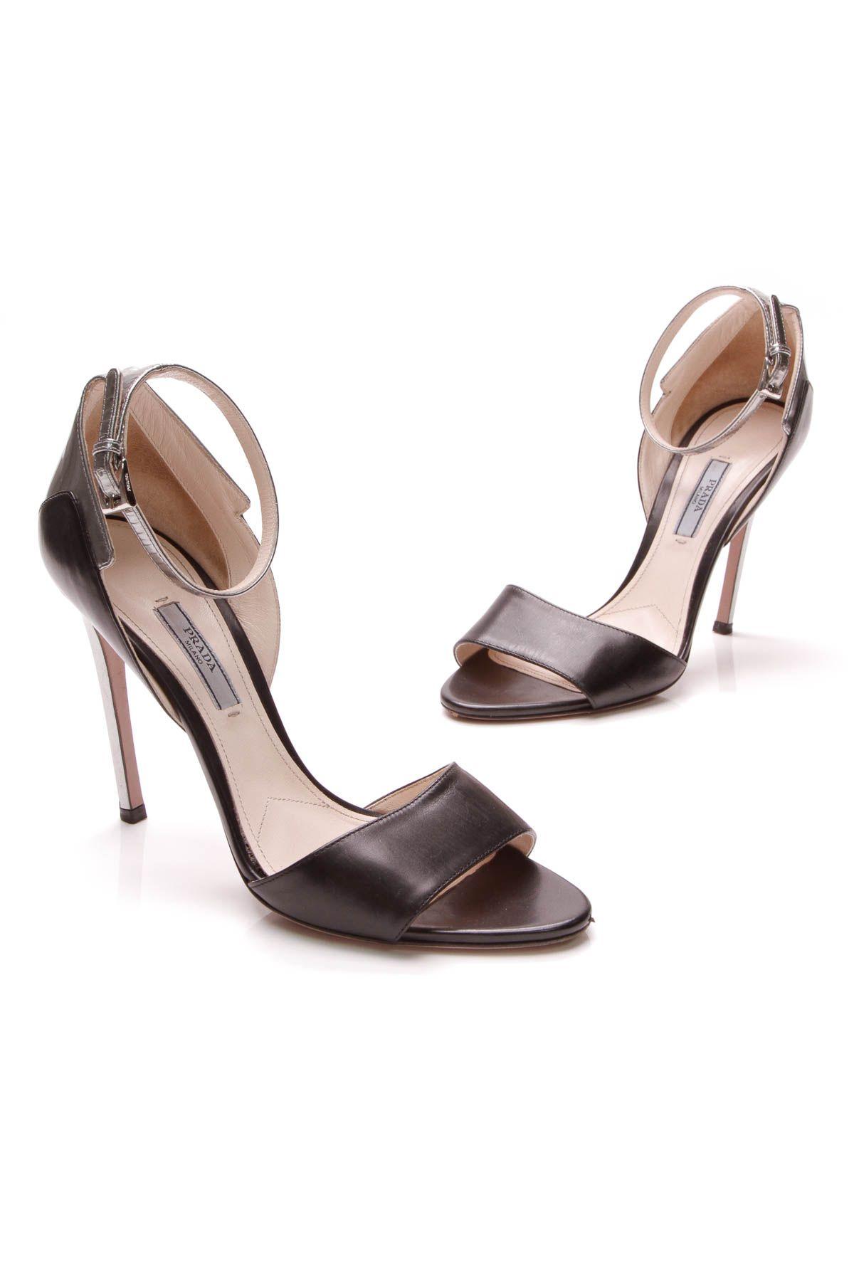 d83573ce719 Prada Ankle Strap Sandal Heels - Black   Silver Sandal Heels