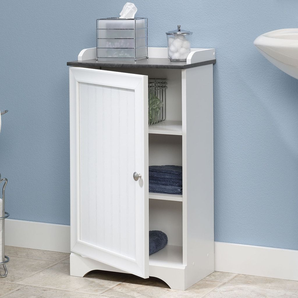 Nice Bathroom Floor Cabinet With Adjustable Shelves In White Finish