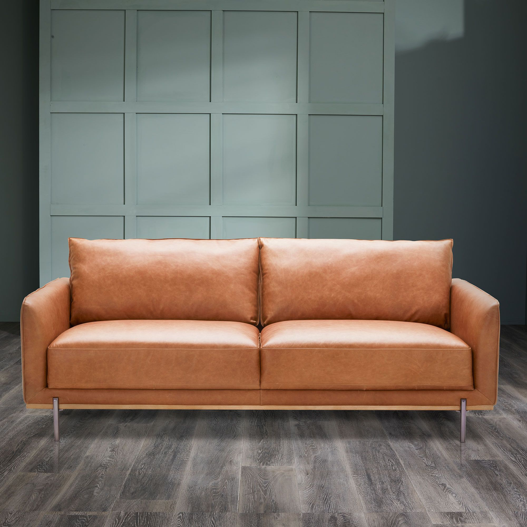 Pleasant Our Modish Tan Leather Loveseat Has A Mid Century Modern Bralicious Painted Fabric Chair Ideas Braliciousco