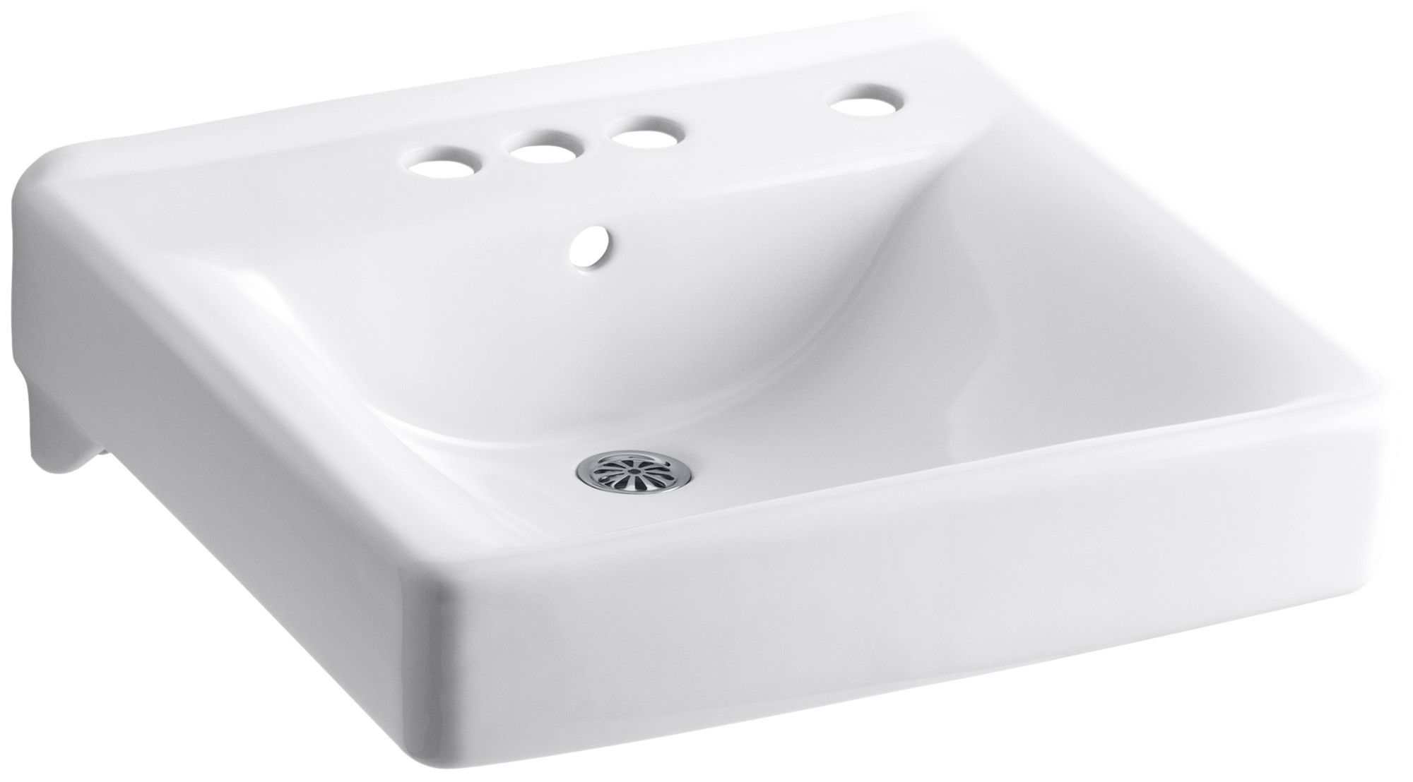 """Soho 20"""" x 18"""" Wall-Mount/Concealed Arm Carrier Arm Bathroom Sink with 4"""" Centerset Faucet Holes and Right-Hand Soap Dispenser Hole"""