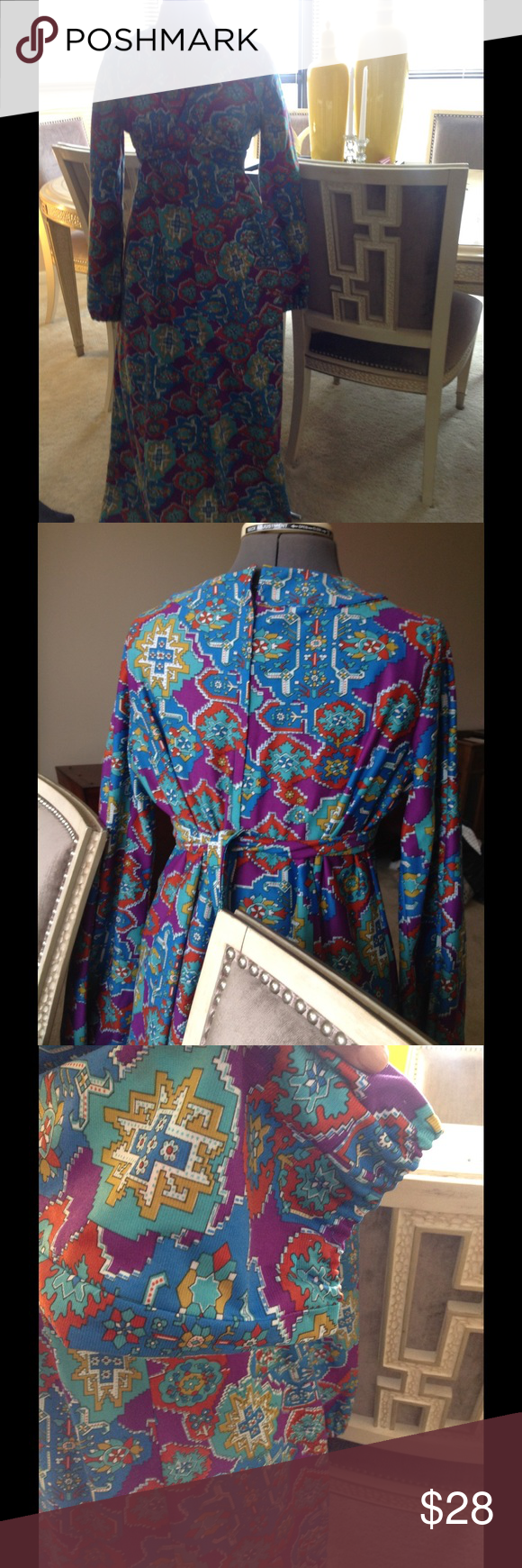 Vintage long sleeved maxi dress Beautiful!  Long sleeve vintage maxi. Perfect for transitional piece. Dresses Maxi
