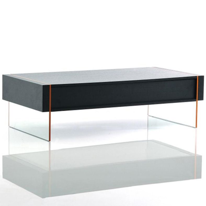 modern wenge floating coffee table with drawer stone. | modern