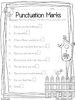 4 FREE Printables - Punctuation, Syllables, Telling Time and Math ...