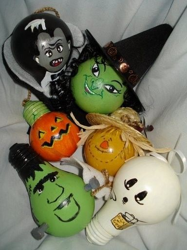Items Similar To Halloween Ornament Set Witch Ghost Dracula Frankenstein Pumpkin Scarecrow On Ets Halloween Ornaments Light Bulb Crafts Halloween Crafts